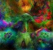 stock photo of emerald  - fairy emerald green phoenix bird colorful ornamental fantasy painting collage - JPG