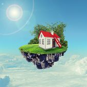 stock photo of red roof  - White house with red roof and rent sign on island in sky with clouds - JPG