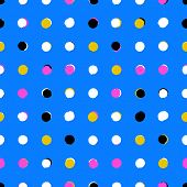 pic of color spot black white  - Simple geometric pattern with randomly colored small circles in blue gold pink black white colors - JPG