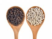pic of peppercorns  - Wooden spoon and black peppercorn on white background - JPG