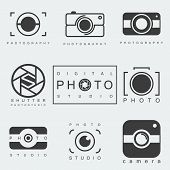 pic of studio  - black photography icon set isolated on white background - JPG