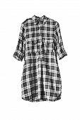 picture of tunic  - Black and white plaid tunic isolated over white - JPG