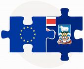 foto of falklands  - European Union and Falkland Islands Flags in puzzle isolated on white background - JPG