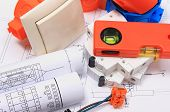 foto of electrical engineering  - Components for use in electrical installations and electrical diagrams accessories for engineering work energy concept - JPG