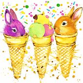 pic of popsicle  - Funny rabbits and popsicles with watercolor splash textured background - JPG