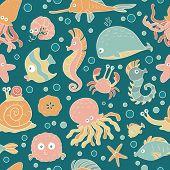 pic of sea life  - Seamless vector pattern of sea life - JPG