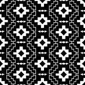 foto of native american ethnicity  - Vector seamless ethnic pattern with american indian motifs in black and white colors - JPG