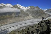 Hikers at the Aletsch