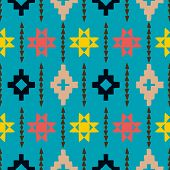stock photo of native american ethnicity  - Vector seamless ethnic pattern with american indian motifs in multiple colors - JPG