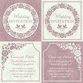 image of ring-dove  - Antique baroque wedding invitation set - JPG