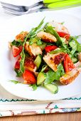 pic of rocket salad  - Chicken breast rocket cucumber and tomato salad with citrus dressing - JPG
