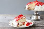 foto of sponge-cake  - strawberry cake on the cake stand rustic - JPG