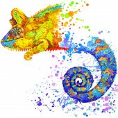 pic of chameleon  - Funny chameleon with watercolor splash textured background - JPG