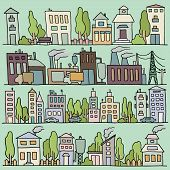 image of tree lined street  - Scketch big city architecture with houses factory trees cars - JPG