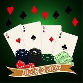 pic of four-wheel  - Casino set on a on a green wavy background - JPG