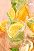 picture of iced-tea  - ice tea with citrus fruits - JPG