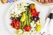foto of antipasto  - Appetizers plate with vegetarian antipasto in Italian restaurant - JPG