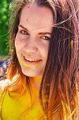 picture of holi  - yellow colored happy girl at Holi Festival  - JPG