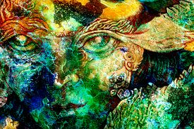 picture of creatures  - elven fairy creatures and energy lights an insight in a fairy realm face portrait closeup cracklle effect collage - JPG