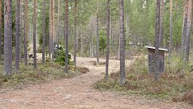 stock photo of outhouse  - Campsite - JPG