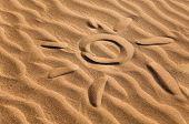 sun shape on a sandy beach