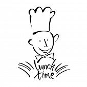 Постер, плакат: CHEF COOK with handwritten lettering LUNCH TIME Hand drawing chef cook handmade text lunch time Co