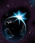 Nascer do sol sobre a terra de planeta de tempo de noite