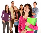 Casual group of students isolated over a white background