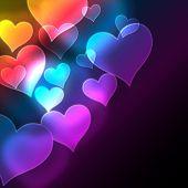 Resumen de antecedentes con corazones. Vector.