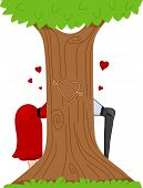 Illustration of a Pinup Couple Partly Concealed By a Tree with a Carved Heart