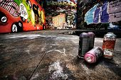 stock photo of spray can  - A derelict area of graffiti - JPG