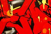 Red and black abstract graffiti