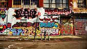 Graffiti building and fire hydrant in New York