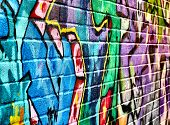 Abstract graffiti image with textured brickwork