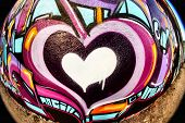 Fish Eye graffiti heart