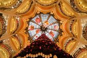 PARIS - DECEMBER 30: The Christmas tree at Galeries Lafayette, view from below, December 30, 2009, P