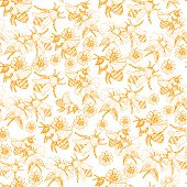 Honey Bee Seamless Pattern, Sketch Vector Illustration With Bumble Bee Hives In Vintage Style, Yello poster