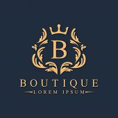 Luxury, Heraldic, Royal, Decoration, Boutique Logo. Interior Icon. Fashion, Jewelry, Beauty Salon, H poster