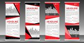Red Roll Up Banner Template, Stand Design, Pull Up, Display, Advertisement, Business Flyer, Poster, poster