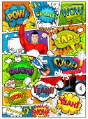 Comic Book Page Divided By Lines With Speech Bubbles, Rocket, Superhero And Sounds Effect. Retro Bac poster