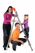 Family With Foldable Ladder