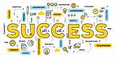 Vector Creative Illustration Of Success Yellow Word Lettering Typography With Line Icons And Tag Clo poster