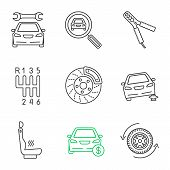 Постер, плакат: Auto Workshop Linear Icons Set Repair Service Car Search Auto Jumper Gear Stick Disk Brake Jac
