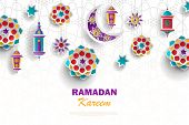 Ramadan Kareem Concept Horizontal Banner With Islamic Geometric Patterns. Paper Cut Flowers, Traditi poster