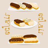 Vector Icon Illustration Logo For Cake French Eclair With Custard Cream. Eclair Pattern Consisting O poster