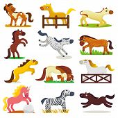 Cartoon Horse Vector Cute Animal Of Horse-breeding Or Kids Equestrian And Horsey Or Equine Stallion  poster