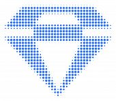 Diamond Halftone Vector Pictogram. Illustration Style Is Dotted Iconic Diamond Icon Symbol On A Whit poster