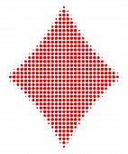 Diamonds Suit Halftone Vector Icon. Illustration Style Is Dotted Iconic Diamonds Suit Icon Symbol On poster