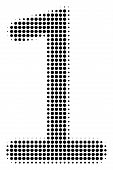 One Digit Halftone Vector Pictogram. Illustration Style Is Dotted Iconic One Digit Icon Symbol On A  poster