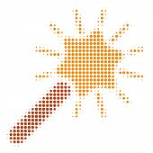 Wand Magic Tool Halftone Vector Pictogram. Illustration Style Is Dotted Iconic Wand Magic Tool Icon  poster